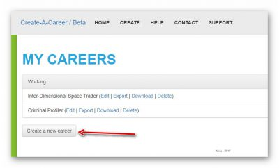 Click the create a new career button