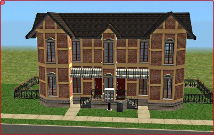 Building Sims 2 apartments on foundation with a private backyard