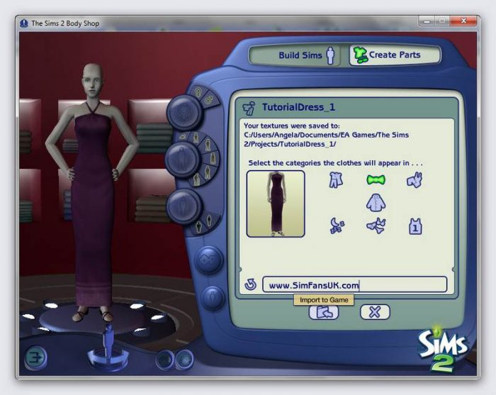 Beginner's Guide To Sims 2 Body Shop - Recolouring Clothes